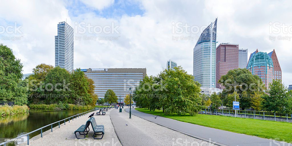 Panoramic view at Den Haag city center stock photo