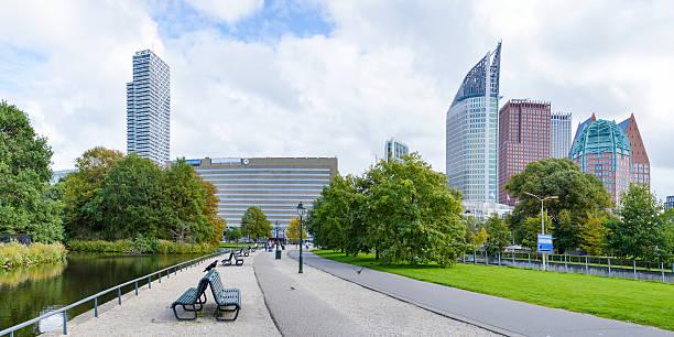 panoramic view at den haag city center - den haag stockfoto's en -beelden