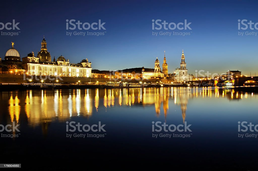 Panoramic view at dusk of Germany's Dresden Altstadt royalty-free stock photo