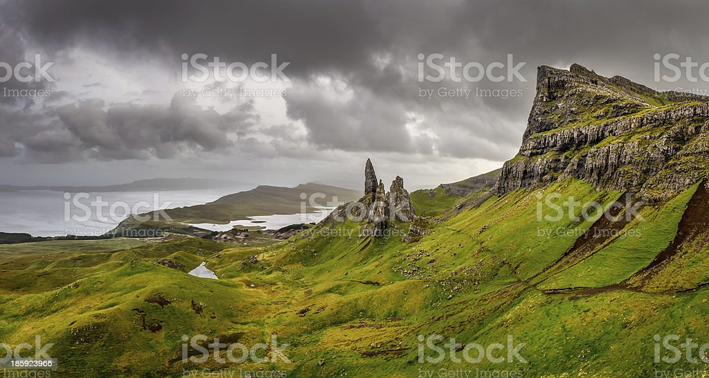Panoramic view at Old man of Storr mountains, Scottish highlands stock photo