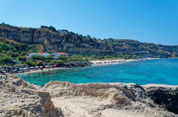 Panoramic view at Riaci beach located near Tropea, Italy stock photo