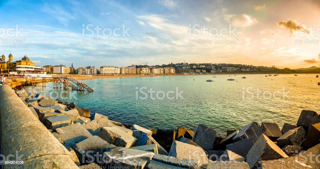 Panoramic view at sunset of La Concha Bay, San Sebastian, Donostia, Basque Country, Spain stock photo