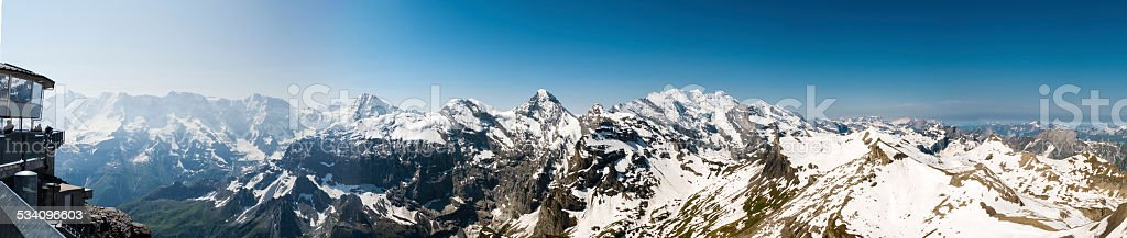 XXXL: Panoramic view at the top of the Schilthorn, Switzerland stock photo