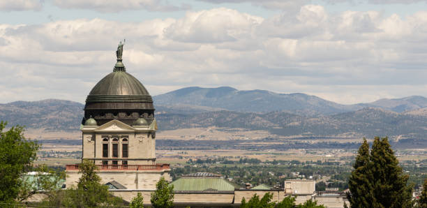 Panoramic View Capital Dome Helena Montana State Building stock photo