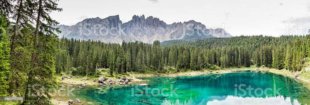 Panoramic view Carezza Lake  - Trentino Alto Adige - Italy stock photo