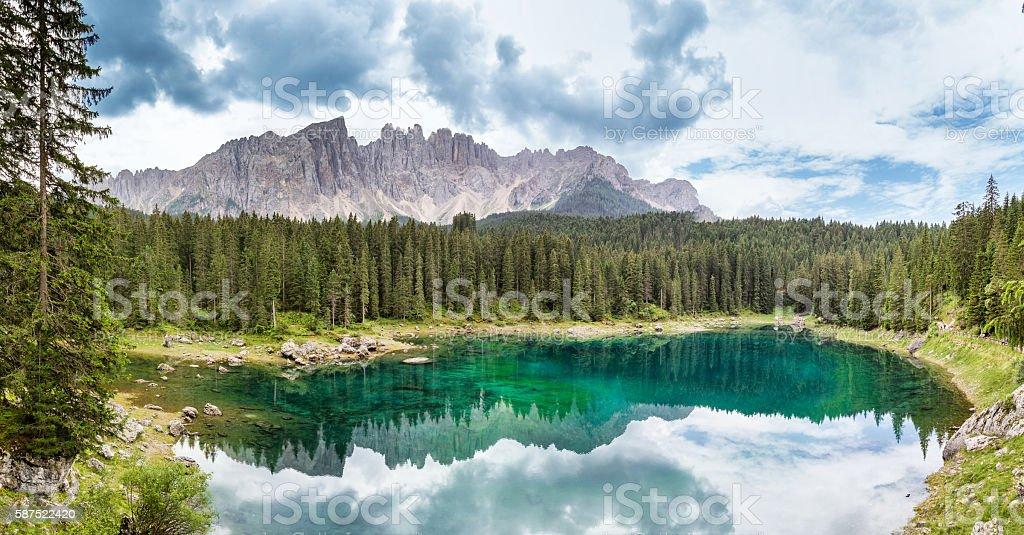 Panoramic view Carezza Lake  - Trentino Alto Adige - Italy stock photo