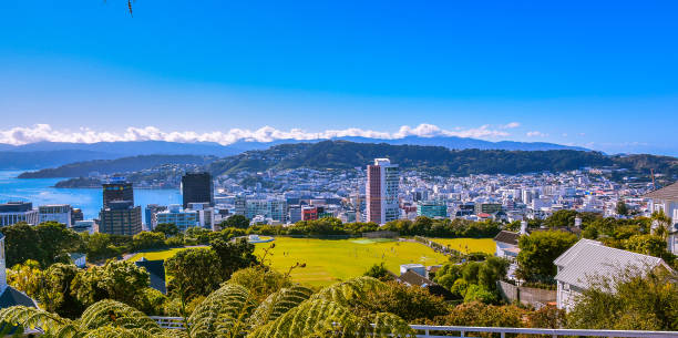 Panoramic view, City of Wellington, New Zealand Panoramic view of city of Wellington, looking southeast as seen from Kelburn Cable Car station - New Zealand wellington new zealand stock pictures, royalty-free photos & images