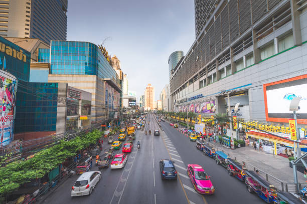Panoramic view Cityscape business district from aerial view high building at dusk (siam silom central Bangkok, Thailand) stock photo