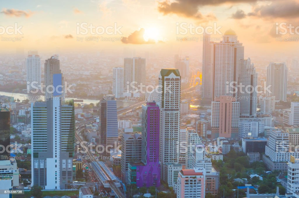 Panoramic view Cityscape business district from aerial view high building at dusk (Bangkok, Thailand) stock photo