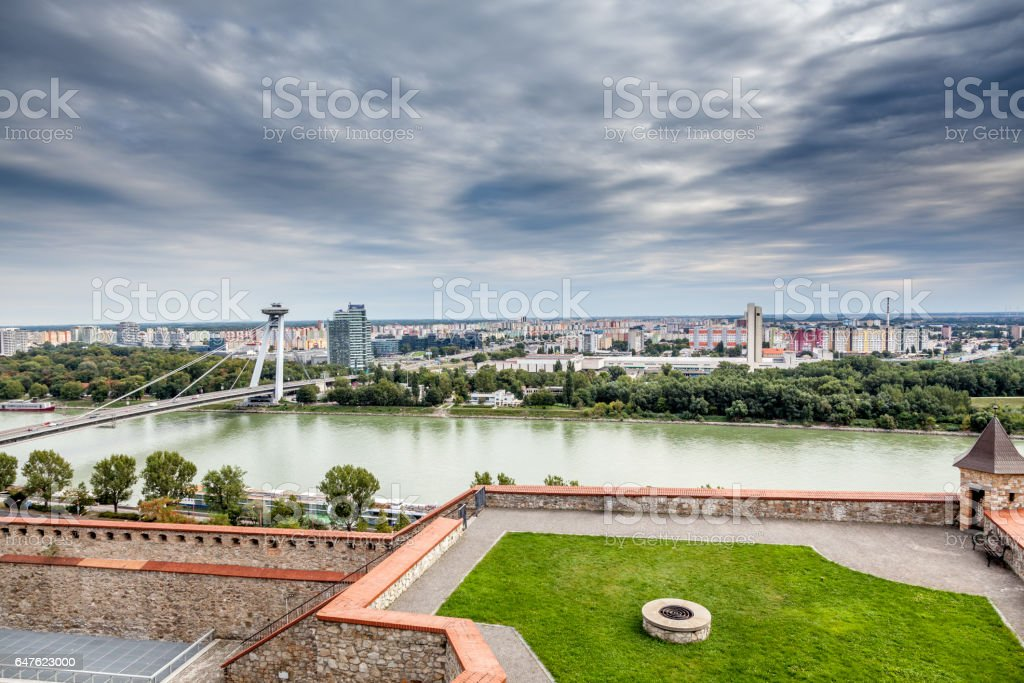 Panoramic view, dramatic sky over Bratislava skyline and river Danube. royalty-free stock photo