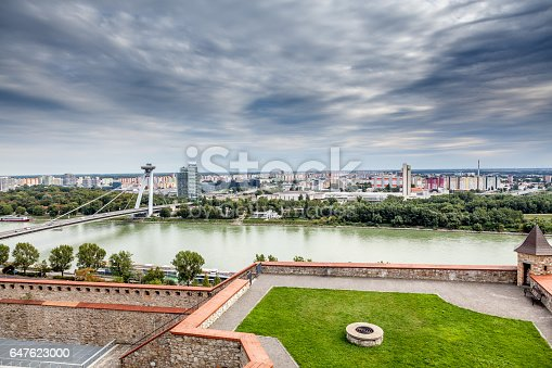 Panoramic View Dramatic Sky Over Bratislava Skyline And River Danube Stock Photo & More Pictures of Above