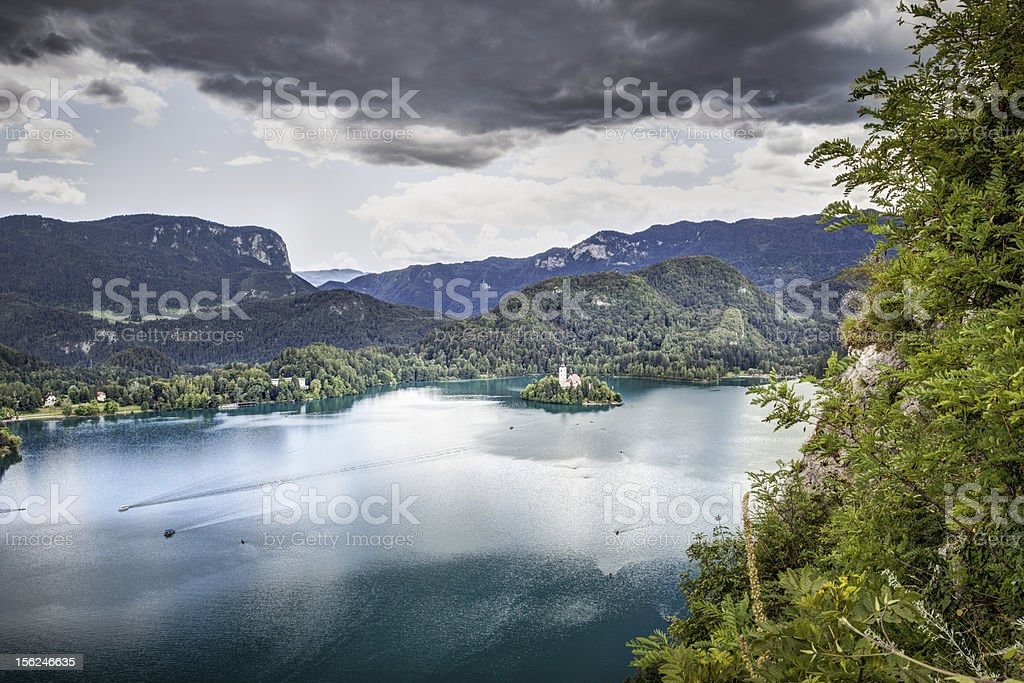 Panoramic view from Bled Castle, Slovenia. stock photo