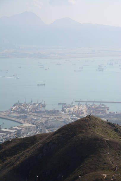 Panoramic view from Castle Peak, New Territories, Hong Kong stock photo