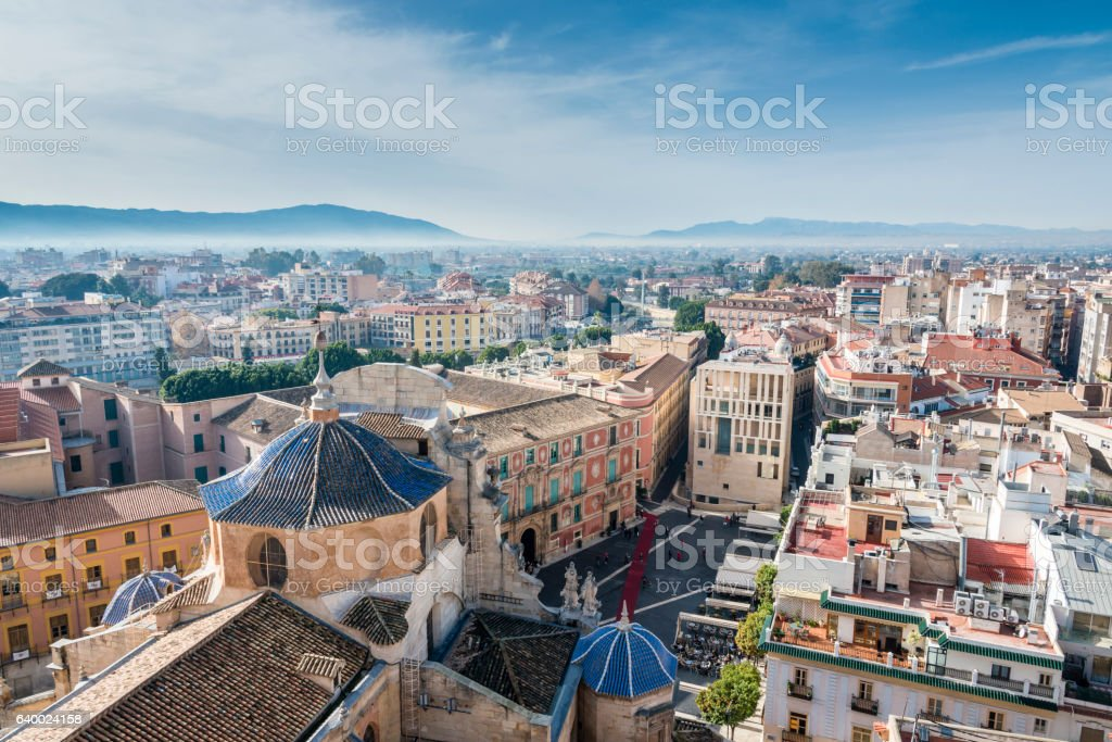 Panoramic view from Cathedral Church of Saint Mary in Murcia stock photo