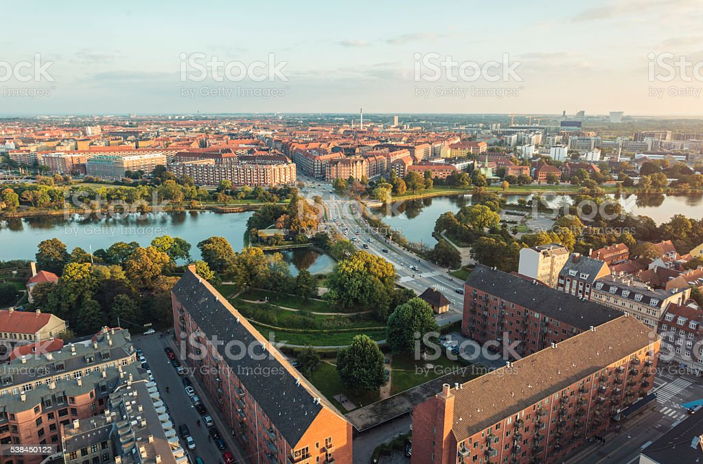 Panoramic view from center of Copenhagen toward Amager, Denmark stock photo