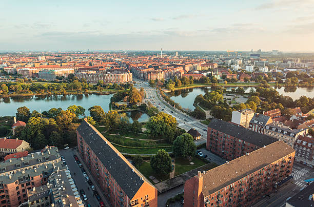 panoramic view from center of copenhagen toward amager, denmark - denmark stock photos and pictures