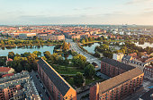 Panoramic view from center of Copenhagen toward Amager, Denmark