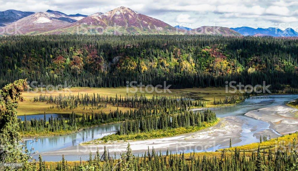Panoramic view from Denali Highway stock photo