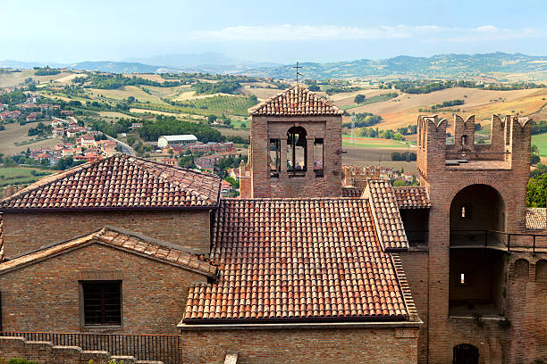 Panoramic view from famous Gradara castle stock photo