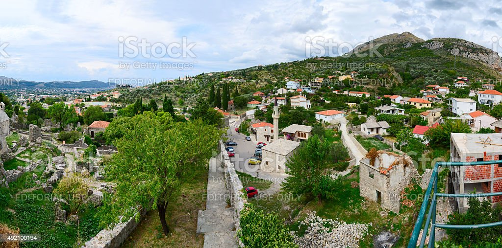 Panoramic view from fortress wall of Bar in foothills, Montenegro stock photo