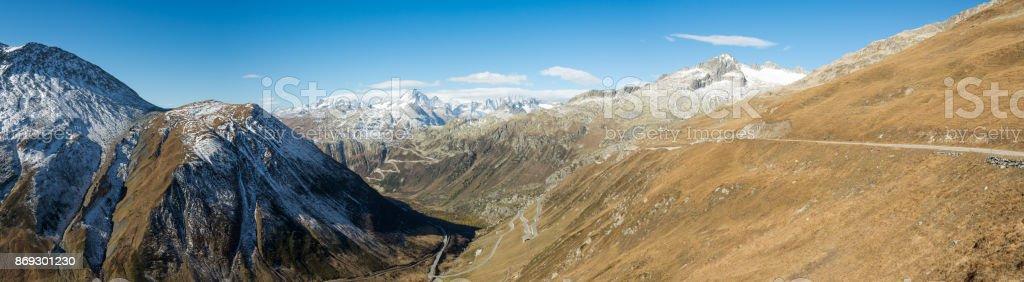 Panoramic view from Furka pass, Switzerland stock photo