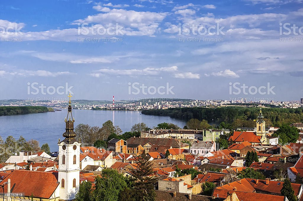 Panoramic view from Gardos Lookout In Zemun, on River Danube stock photo
