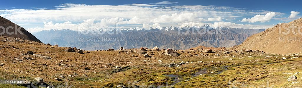 Panoramic view from Ladakh Range to Stok Kangri Range stock photo