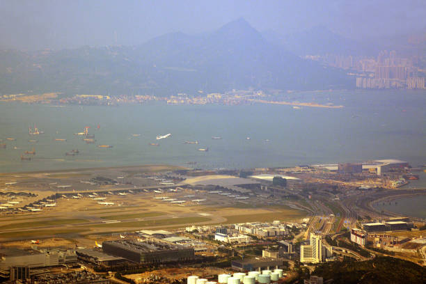 Panoramic view from Lantau peak, Hong Kong stock photo