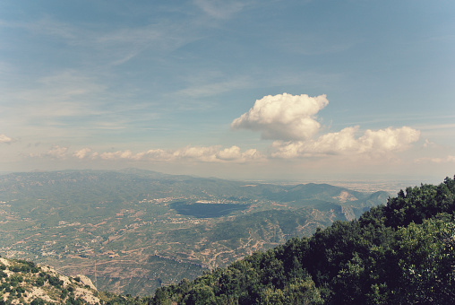 Panoramic view from Montserrat mountain, Catalonia, Spain