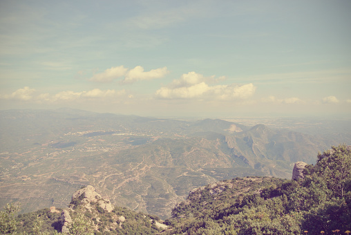 Panoramic view from Montserrat mountain, Catalonia, Spain; retro style