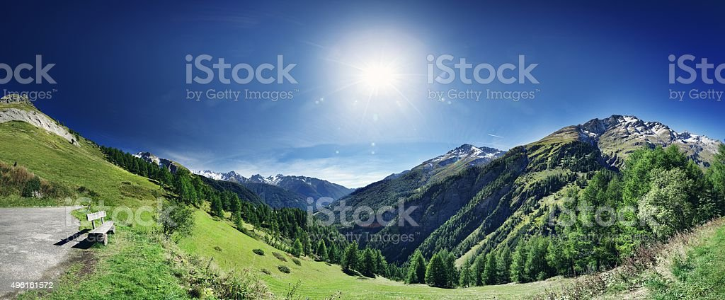 Panoramic view from mountain top stock photo