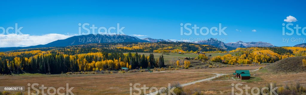Panoramic view from Ohio Pass road in Colorado. stock photo
