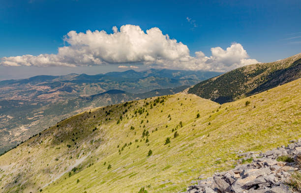 Panoramic view from Olympus mountain stock photo