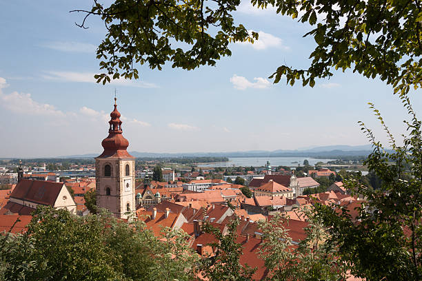 Panoramic view from Ptuj Castle over  Drava river stock photo