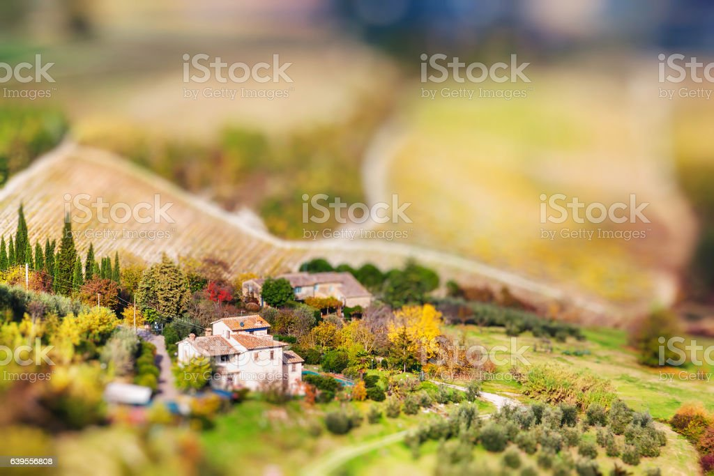 Panoramic view from San Gimignano in autumn, Tuscany stock photo