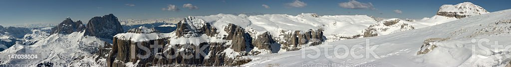 Panoramic view from Sass Pordoi, Dolomites, Italian Alps, Italy royalty-free stock photo