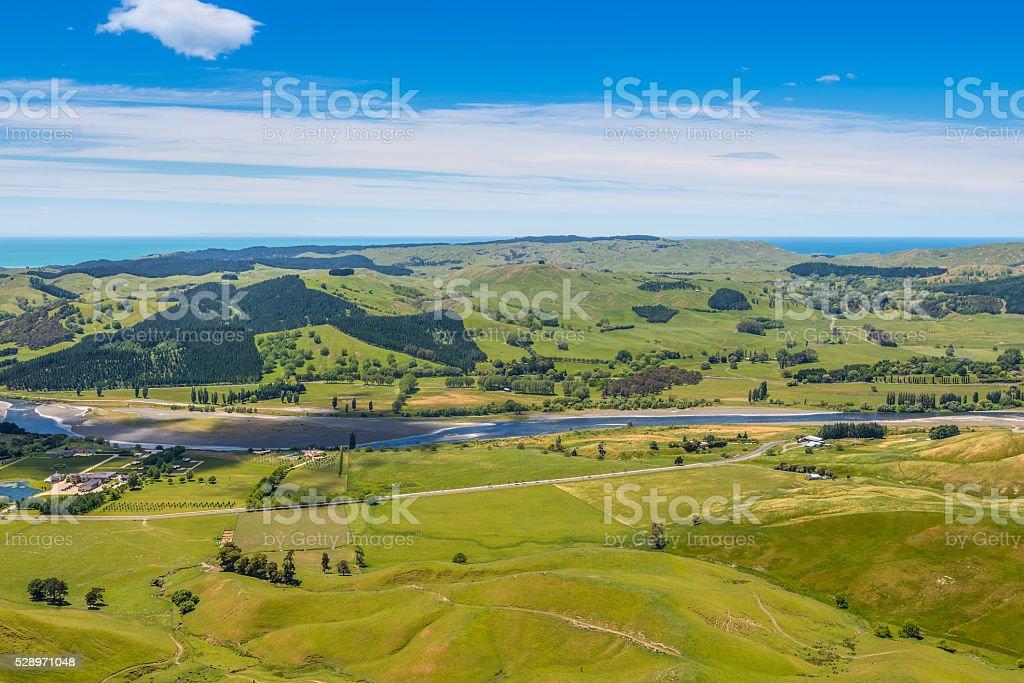 Panoramic view from Te Mata Peak stock photo