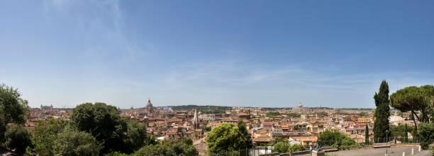 panoramic view from terrazza del belvedere - roma foto e immagini stock