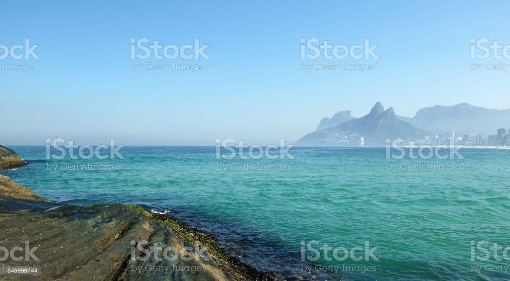 Panoramic view from the Arpoador Stone in Rio de Janeiro stock photo