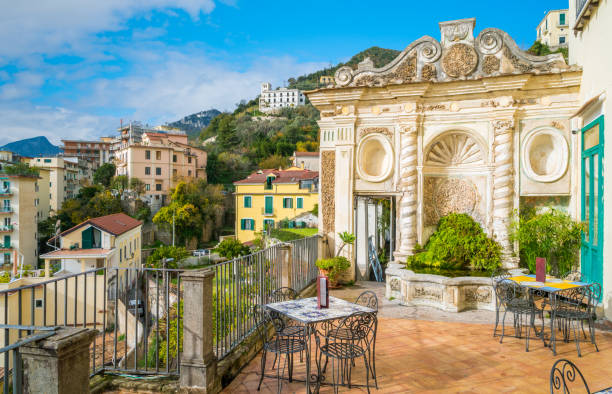panoramic view from the minerva's garden in salerno, campania, italy. - della stock pictures, royalty-free photos & images