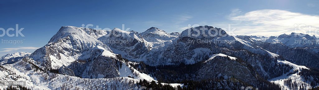 Panoramic view from the mountain Jenner. stock photo