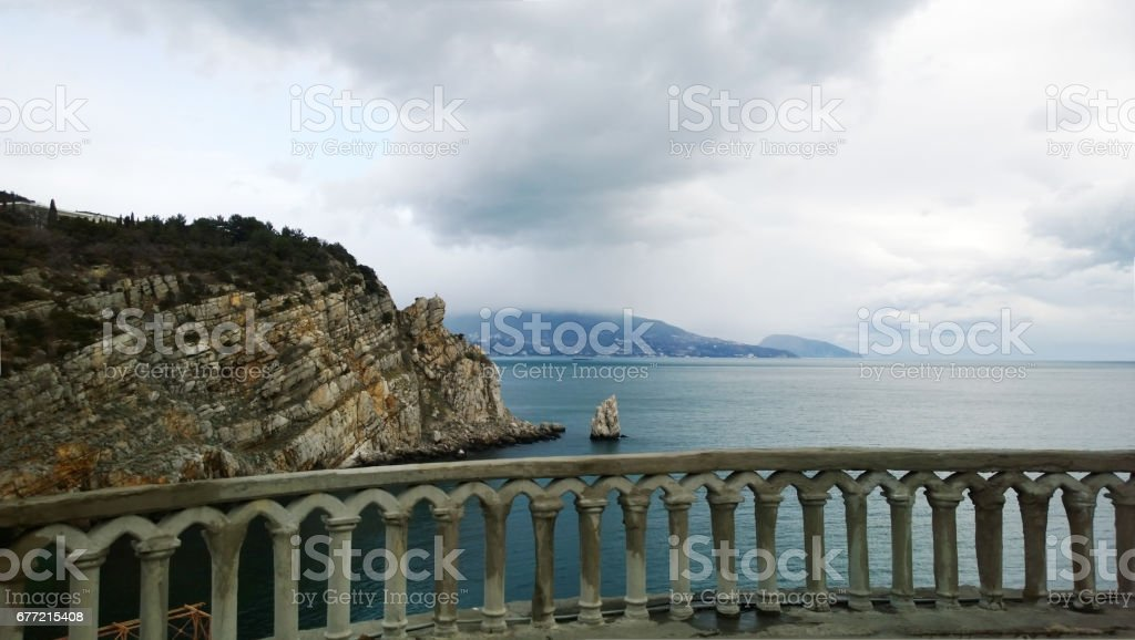 Panoramic view from the Palace Swallow's nest to the side of Yalta - mountain 'Sailer' and beautiful sea stock photo