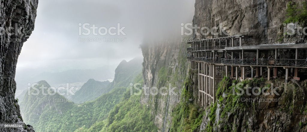panoramic view from Tianmen mountain to the valley with mountain roads royalty-free stock photo