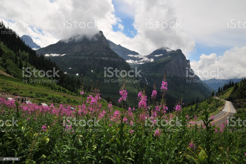 Panoramic view 'going to sun the road', Montana, USA stock photo