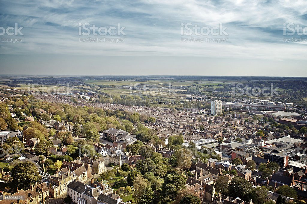 Panoramic view, historic city of Lincoln, England from Cathedral tower royalty-free stock photo