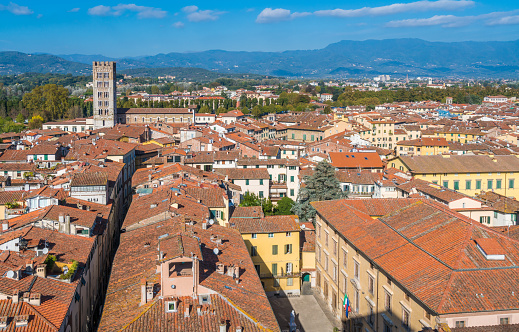 istock Panoramic view in Lucca with San Frediano Church. Tuscany, Italy. 1098053536