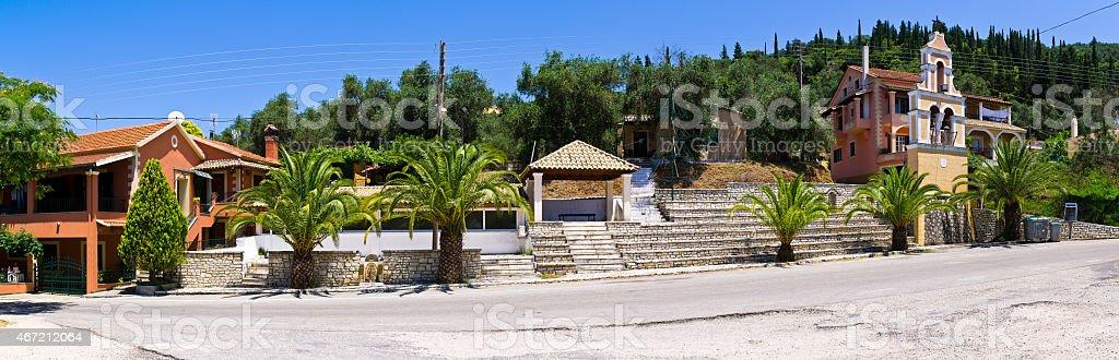 Panoramic view in old village - Klimatia, Corfu, Greece stock photo