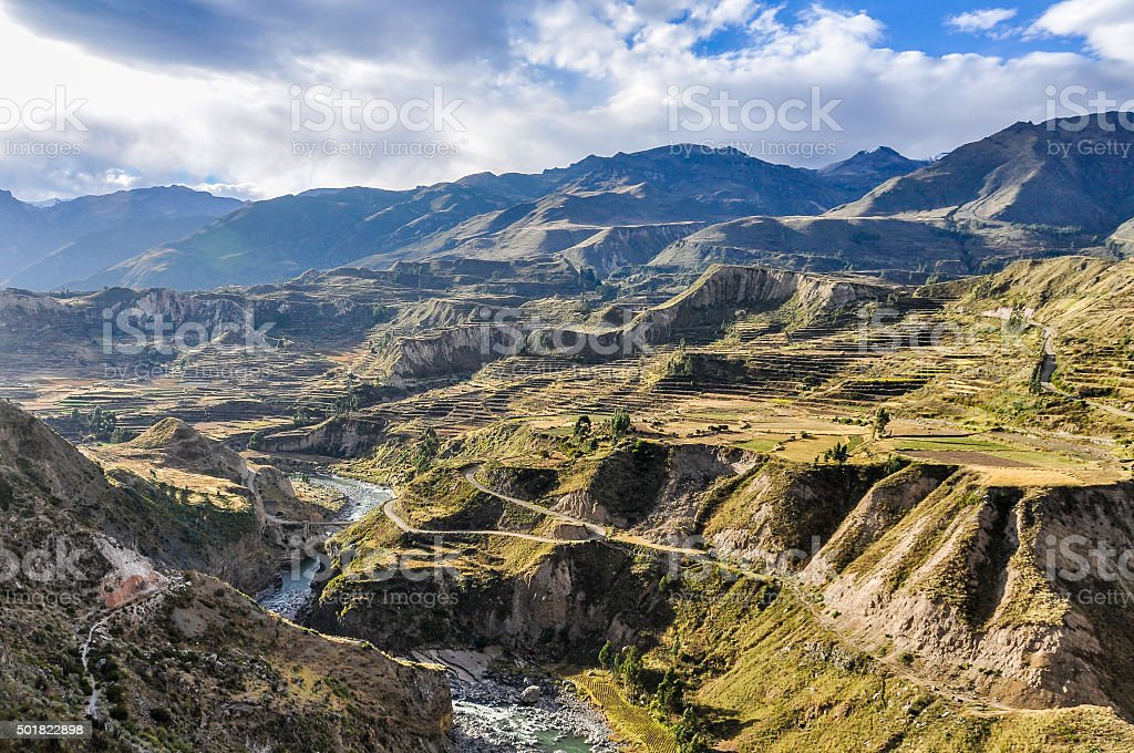 Panoramic view in the Colca Canyon, Peru stock photo