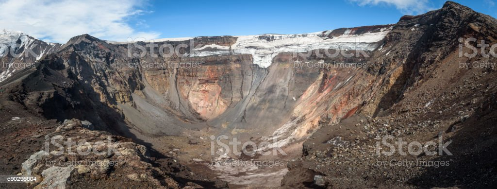 Panoramic view into the crater of the Tolbachik Volcano royaltyfri bildbanksbilder