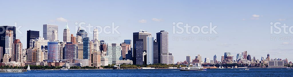 Panoramic View Lower Manhattan City Skyline in New York USA stock photo